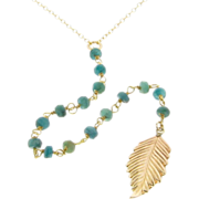 Lariat Necklace, Y Necklace Genuine Emeralds, Long Gold Filled Leaf Necklace, as Seen on Jenni