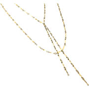 Gold Lariat Necklace, Y Necklace, Tassel Necklace, Double Lariat Necklace as Seen On Cameron D