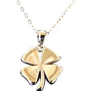 Gold Four Leaf Clover Necklace, 14K SOLID GOLD Lucky Charm - Sarah Jessica Parker, Sex And The
