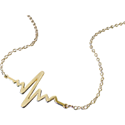 Gold Heartbeat Necklace, Solid Gold Heart Beat Pendant And Chain