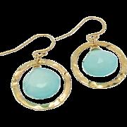 Aqua Chalcedony Earrings, Gold Filled Drop Earrings,Dangle Earrings, Hammered Rings, Luminous