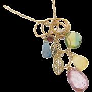 Gemstone Drop Necklace, Gold Filled Charm Necklace, Rose Quartz, Citrine, Dichroic Quartz, Kya