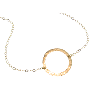 Gold Circle Necklace - Hammered 14K Gold Single 15mm Circle, Karma Necklace, Eternity Necklace