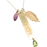 14K Gold Nameplate Necklace, Vertical Gold Bar Name Plate, Birthstone Necklace, Add a Charm Ne