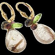 Gold Drop Earrings, Gemstone Earrings, 20 Carats Golden Brown Rutilated Quartz, Garnet, Perido