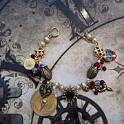 Artisan Steam Punk in the Garden Charm Bracelet with Deep Red Glass Focal