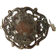 Bracelet Cuff Silverplate Roses Frosted Glass