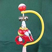 SALE Vintage Baby Crib Toy Plastic Clown On Elephant