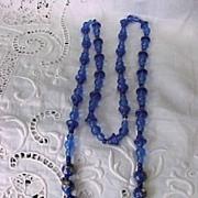 SALE Vintage Italian Cobalt and Millefiori Bead Necklace