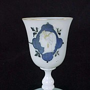 SALE Early Opaline Glass Goblet Hand Painted Neo Classical