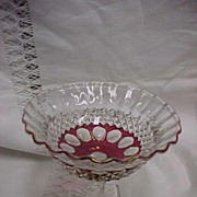 SALE Westmoreland Waterford / Wakefield Ruby Flashed Compote Signed