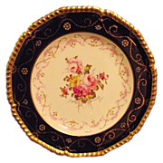 SALE Royal Crown Derby Cabinet Plate Cobalt Gold Guilt Hand Painted Floral