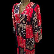 SALE Womens Boho Hippie Maxi Dress Small Red Blue Bandana Print