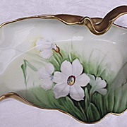 SALE Beautiful Hand Painted Limoges Free Form Dish w/ Handle Signed M Matti