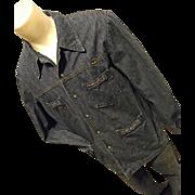 Wrangler 1970's Mens Denim Shirt Jacket M Pearl Snaps Boho Hippie