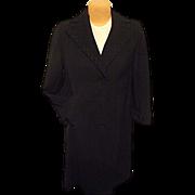 SALE Rothmoor Womens Gabardine Worsted Wool Vintage Black Dress Coat Med Braid Trm