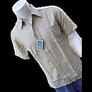 SALE NOS Pendleton Woolen Mills Umatilla Mens Gold Plaid Shirt Sm Wool TAG