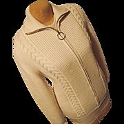 SALE Fritz Litzlfelder Germany Womens Ivory Wool Cardigan Sweater 54 Lg