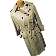SALE Vintage Aquascutum England Womens Khaki Trench Coat 10 Dbl Breasted Leather Buttons