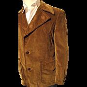 SALE Vintage Europe Craft Mens 40 Corduroy Western Coat Jacket Wide Lapel