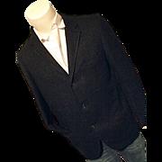 SALE Brent Mens Vintage Wool Blazer Sport Coat Black Open Weave 40R