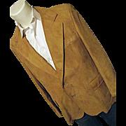 SOLD Vintage 1970's Cresco Doeskin Leather Mens Blazer Sport Coat Camel 46 USA
