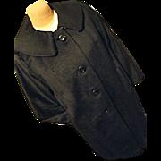 SALE FANTASTIC Vintage Womens Swing Black Coat Wool Cashmere Lg Rolled Collar 40's 50's