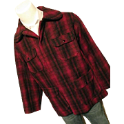 SALE Vintage Woolrich Mens Red Buffalo Plaid Wool Bld Timber Cruiser Jacket 42