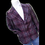 SALE Vintage 1960's McGregor Mens Plaid Woven Polyester Blazer Sportcoat 40R Red
