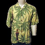 Vintage Tommy Bahama Mens Hawaiian Shirt M 100% Linen Yellow Birds Parrot