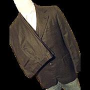 Vintage Foreman & Clark Mens 3PC Wool Suit Pin Stripe 40R Jacket Vest Pants