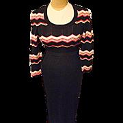 Vintage 1970's Aristo Kat Womens Black Maxi Dress 8 Wool Bld Metallic Red Silver