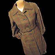 Vintage German Loden Frey Springer Womens Green Wool Mohair Plaid Coat Sm