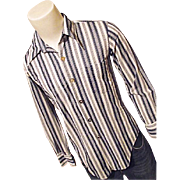 Vintage 1970's Le Mans Knit Mens Shirt Pointed Collar Mirror Buttons Stripe M