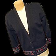 Vintage Pendleton Woolen Mills Womens Black Cardigan Sweater Lg Long 100% Wool