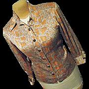 Vintage Womens Orange Silver Snakeskin Pattern Silk Blouse France 40 Sycomore
