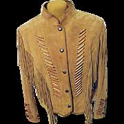 Vintage Cripple Creek Womens Leather Western Native American Fringe Jacket L