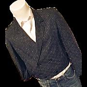 Vintage 1980's Mens Cropped Double Breasted Blazer Sport Coat Black Med