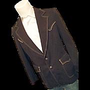 ATOMIC Vintage Lee Western Rockabilly Brown Polyester Blazer Sport Coat 42L Horses