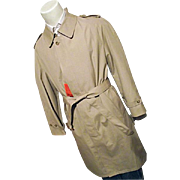 Vintage NOS Hart Schaffner & Marx Mens Khaki Trench Coat Raincoat 42R Tags