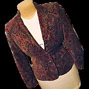 Ralph Lauren Womens Velveteen Paisley Blazer Jacket PS Petite Small