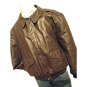 EXCELLENT Vintage Airborne A-2 Mens Brown Leather Bomber Flight Jacket XL Flag