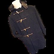 Vintaage Anglia Tailored England Mens Navy Wool Duffle Toggle Coat Medium