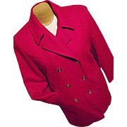 GORGEOUS Vintage Pendleton Womens Red Peacoat Coat 100% Pure Wool 10 Gold Buttons