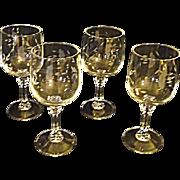 EXCELLENT Vintage Princess House Bordeaux Set of Four Water Goblets Etched
