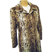 KILLER Vintage Charles Gray London Womens Faux Fur Leopard Cheetah Coat M Realistic