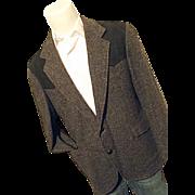 Pendleton Mens Vintage Western Black Tweed Blazer 44 Elbow Patches Wool