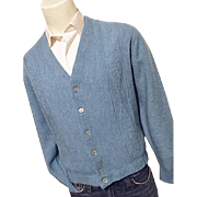 Vintage Barclay Zefkrome Mens Blue Cardigan Old Man Golf Sweater Lg M Acrylic