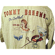 RARE Vtg Dr Tommy Bahama Mens Embroidered Silk Shirt S M Yellow Stitched Mermaid