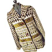 Vintage 1970's Trego's Westwear Womens THICK PLUSH Carpet Coat M Gold Green